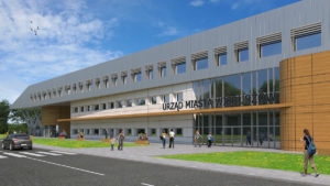 Budynek pasywny łączący funkcje Urzędu miejskiego, wieloperonowego przystanku autobusowego z poczekalnią oraz kina